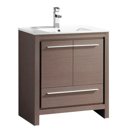 "Fresca Allier 30"" Gray Oak Modern Bathroom Cabinet w/ Sink"