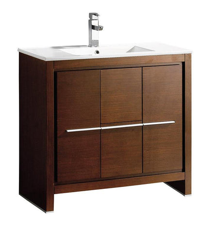 "Fresca Allier 36"" Wenge Brown Modern Bathroom Cabinet w/ Sink"