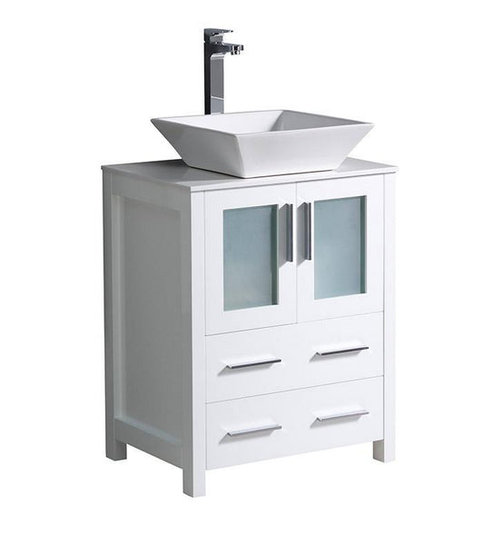 "Fresca Torino 24"" White Modern Bathroom Cabinet w/ Top & Vessel Sink"