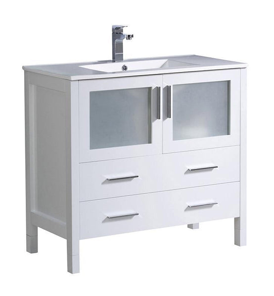 "Fresca Torino 36"" White Modern Bathroom Cabinet w/ Integrated Sink"