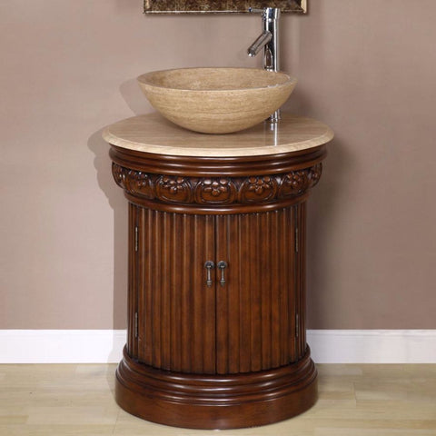 "Silkroad Exclusive 24"" English Chestnut Single Vanity Set - HYP-0160-T-24 - Bath Vanity Plus"