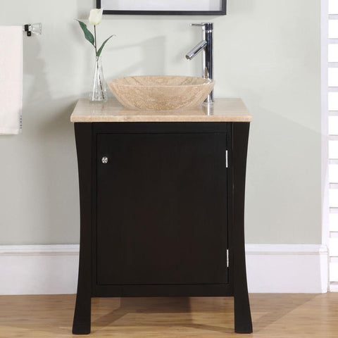 "Silkroad Exclusive 26"" Dark Espresso Single Vanity Set - HYP-0711-T-TT-26 - Bath Vanity Plus"