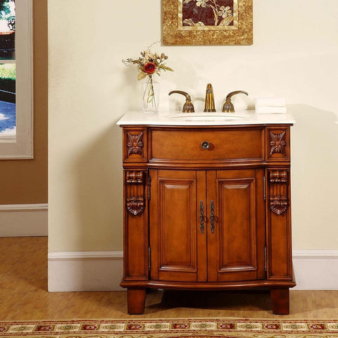 "Silkroad Exclusive 33"" Cherry Single Vanity Set - HYP-0204-CM-UIC-33 - Bath Vanity Plus"