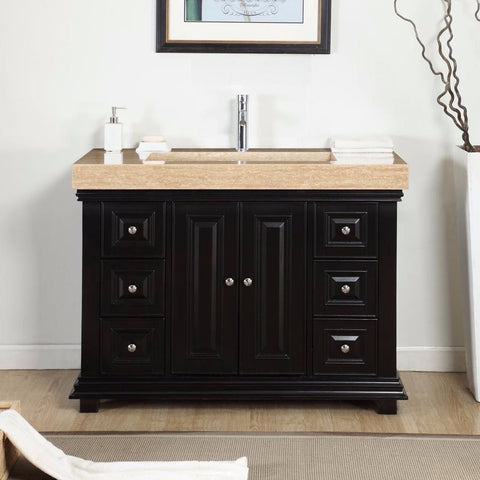 "Silkroad Exclusive 48"" Dark Espresso Single Vanity Set - V0284TR48C - Bath Vanity Plus"