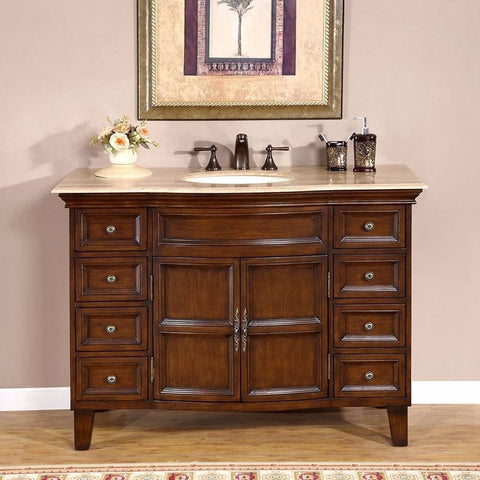 "Silkroad Exclusive 48"" English Chestnut Single Vanity Set - HYP-0154-T-UIC-48 - Bath Vanity Plus"