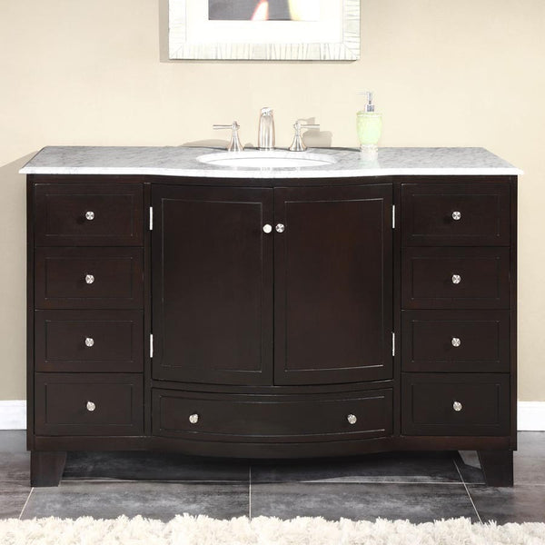 "Silkroad Exclusive 55"" Dark Espresso Single Vanity Set - HYP-0703-UWC-55 - Bath Vanity Plus"