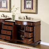 "Silkroad Exclusive 56"" Butler Modular Single Sink Vanity Set - HYP-0213-UWC-56 - Bath Vanity Plus"