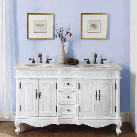"Silkroad Exclusive 58"" Andrea Double Sink Vanity - HYP-0145-CM-UIC-58 - Bath Vanity Plus"