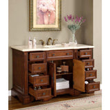 "Silkroad Exclusive 58"" English Chestnut Single Vanity Set - WFH-0199-CM-UWC-58 - Bath Vanity Plus"