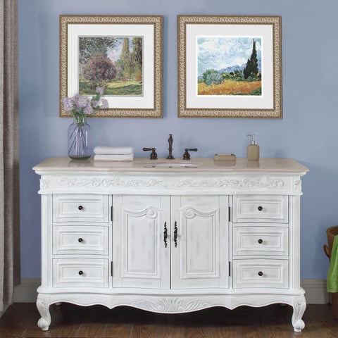 "Silkroad Exclusive 60"" Antique White Single Vanity Set - JB-0273-CM-UWC-60 - Bath Vanity Plus"