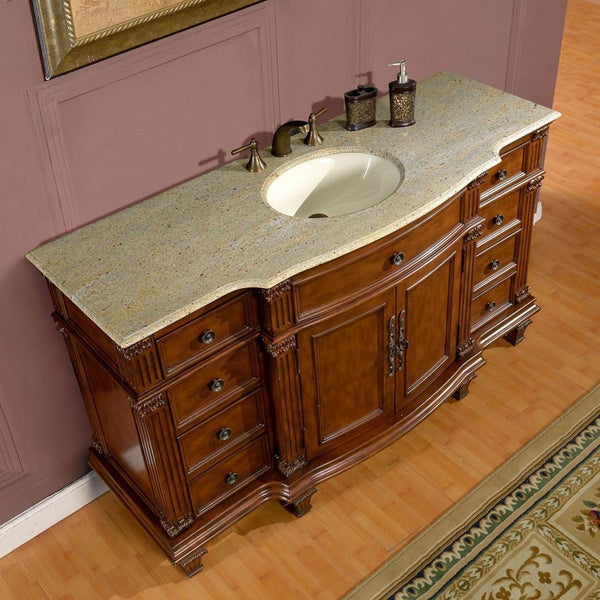 "Silkroad Exclusive 60"" Brazilian Rosewood Single Vanity Set - HYP-0277-UWC-60 - Bath Vanity Plus"
