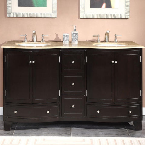 "Silkroad Exclusive 60"" Dark Espresso Double Vanity Set - HYP-0703-UWC-60 - Bath Vanity Plus"