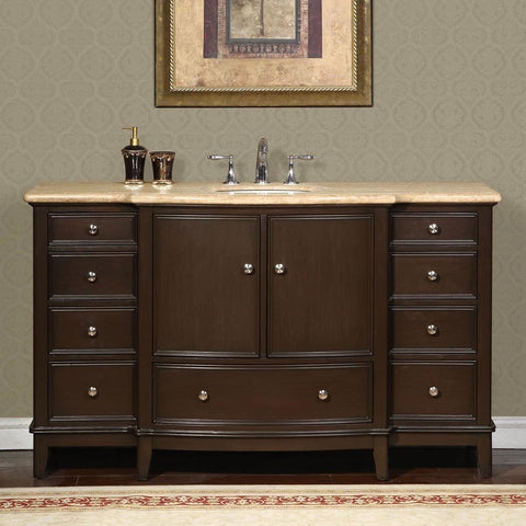 "Silkroad Exclusive 60"" Dark Walnut Single Vanity Set - HYP-0237-T-UWC-60 - Bath Vanity Plus"