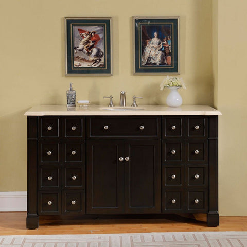 "Silkroad Exclusive 60"" Dark Walnut Single Vanity Set - HYP-0276-CM-UWC-60 - Bath Vanity Plus"
