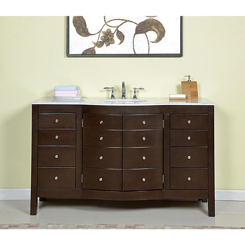 "Silkroad Exclusive 60"" Dark Walnut Single Vanity Set - JB-0274-WM-UWC-60 - Bath Vanity Plus"