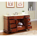 "Silkroad Exclusive 60"" Red Chestnut Single Vanity Set - FS-0268-CM-UWC-60 - Bath Vanity Plus"