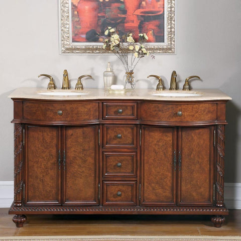 "Silkroad Exclusive 60"" Red Mahogany Double Vanity Set - JYP-0193-T-UIC-60 - Bath Vanity Plus"