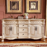 "Silkroad Exclusive 72"" Antique White Double Vanity Set - ZY-0250-CM-UWC-72 - Bath Vanity Plus"