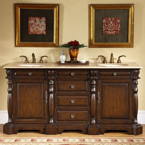 "Silkroad Exclusive 72"" Dark Chestnut Double Vanity Set - LTP-0176-T-UIC-72 - Bath Vanity Plus"