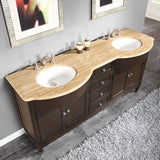 "Silkroad Exclusive 72"" Dark Walnut Double Vanity Set - HYP-0717-UWC-72 - Bath Vanity Plus"