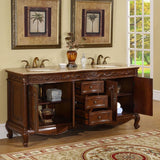 "Silkroad Exclusive 72"" English Chestnut Double Vanity Set - HYP-8034-UIC-72 - Bath Vanity Plus"