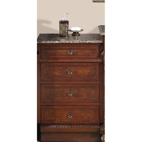 "Silkroad Exclusive 20.5"" English Chestnut Drawer Bank with Baltic Brown Top - HYP-0213-BB-M - Bath Vanity Plus"