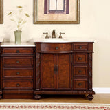 "Silkroad Exclusive 20.5"" English Chestnut Drawer Bank with Crema Marfil Top - HYP-0213-CM-M - Bath Vanity Plus"
