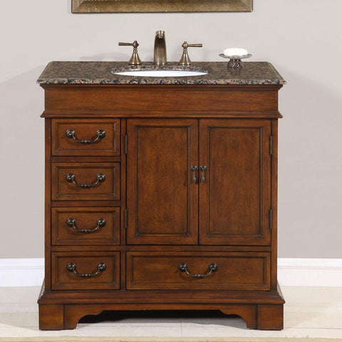 "Silkroad Exclusive 36"" Ashley Single Sink Vanity Set with Granite Top - HYP-0212-BB-UWC-36 - Bath Vanity Plus"
