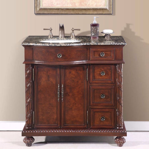 "Silkroad Exclusive 36"" Butler Single Sink Vanity Set - HYP-0213-UWC-36 - Bath Vanity Plus"