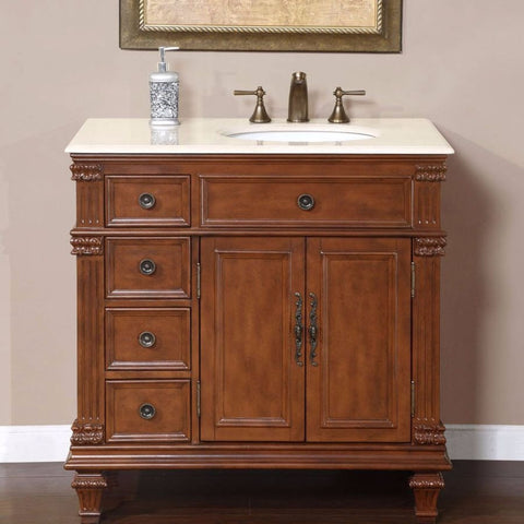 "Silkroad Exclusive 36"" Vermont Maple Single Sink Cabinet with Marble Top - HYP-0210-CM-UWC-36-R - Bath Vanity Plus"