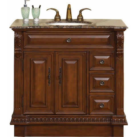"Silkroad Exclusive 38"" English Chestnut Single Sink Cabinet with Granite Top - HYP-0211-BB-UIC-38 - Bath Vanity Plus"