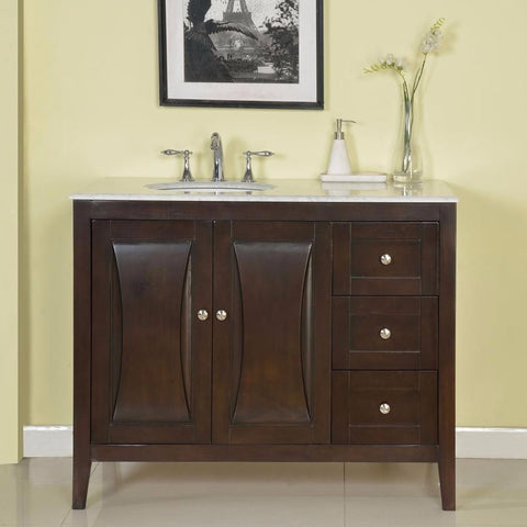 "Silkroad Exclusive 45"" Transitional Single Sink Vanity Set - FS-0269-WM-UWC-45 - Bath Vanity Plus"