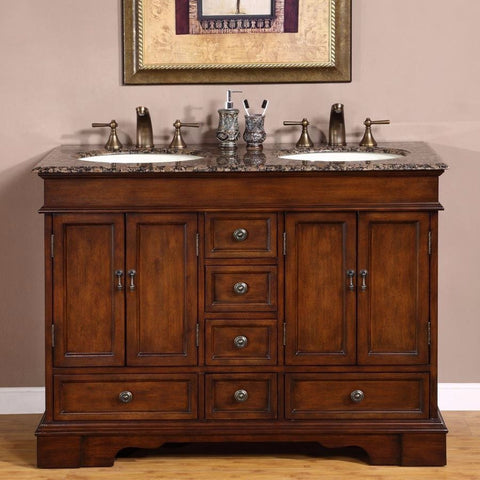 "Silkroad Exclusive 48"" Bradford Double Sink Vanity Set - HYP-0715-UIC-48 - Bath Vanity Plus"