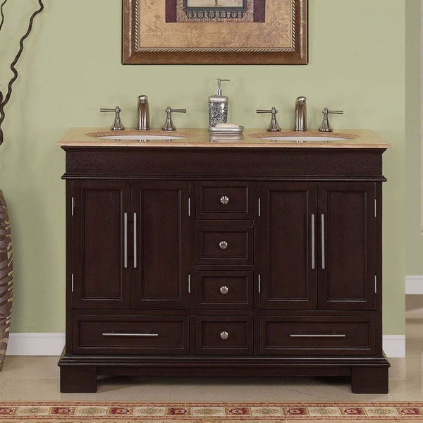"Silkroad Exclusive 48"" Dark Walnut Double Sink Cabinet with Travertine Top - HYP-0224-T-UWC-48 - Bath Vanity Plus"