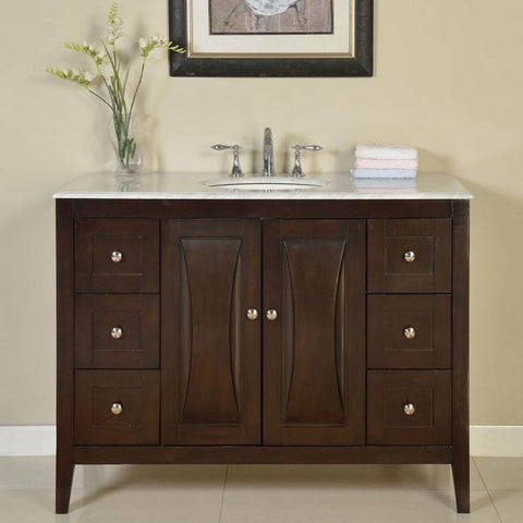 "Silkroad Exclusive 48"" Transitional Single Sink Vanity Set - FS-0269-WM-UWC-48 - Bath Vanity Plus"