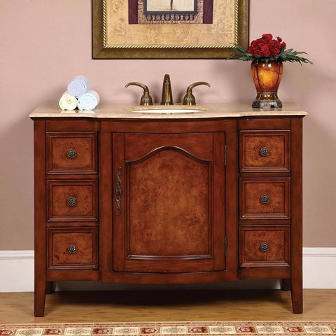 "Silkroad Exclusive 48"" Victorian Red Oak Single Sink Cabinet with Travertine Top - HYP-0701-T-UIC-48 - Bath Vanity Plus"