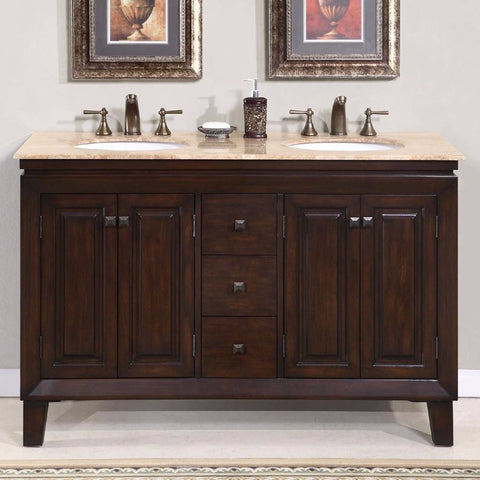 "Silkroad Exclusive 55"" Jessica Double Sink Vanity Set - HYP-0208-T-UWC-55 - Bath Vanity Plus"
