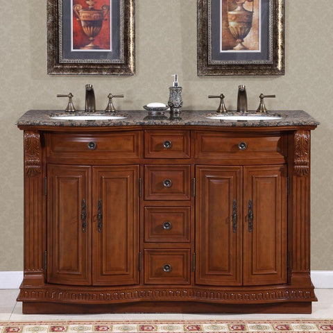 "Silkroad Exclusive 55"" Monica Double Sink Vanity Set with Granite Top - HYP-0223-BB-UWC-55 - Bath Vanity Plus"