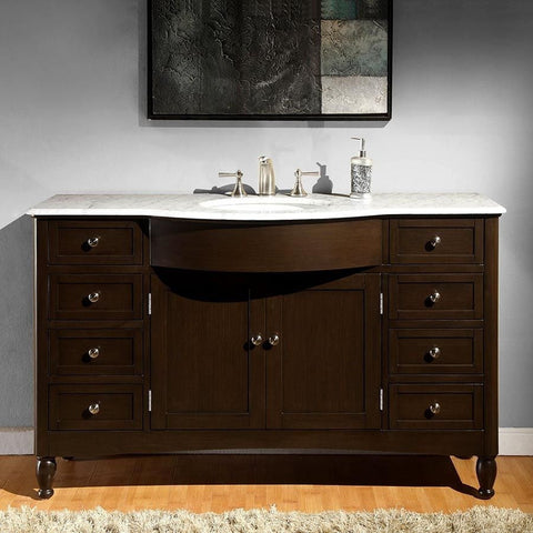 "Silkroad Exclusive 58"" Dark Walnut Single Sink Cabinet with Marble Top - HYP-0717-WM-UWC-58 - Bath Vanity Plus"