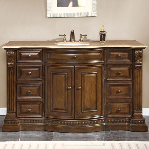 "Silkroad Exclusive 60"" American Walnut Single Sink Cabinet with Travertine Top - HYP-0713-T-UWC-60 - Bath Vanity Plus"