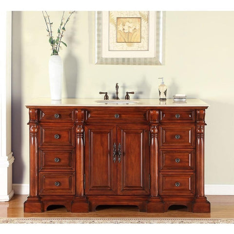 "Silkroad Exclusive 62"" Cynthia Single Sink Vanity Set with Marble Top - FS-0267-CM-UWC-62 - Bath Vanity Plus"