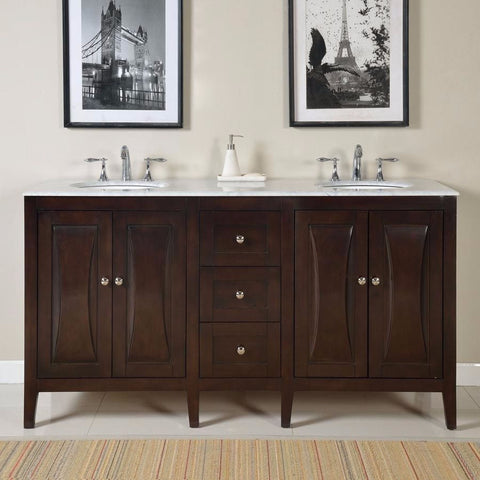 "Silkroad Exclusive 68"" Transitional Double Sink Vanity Set - FS-0269-WM-UWC-68 - Bath Vanity Plus"