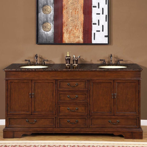 "Silkroad Exclusive 72"" Bradford Double Sink Vanity Set - HYP-0715-UIC-72 - Bath Vanity Plus"