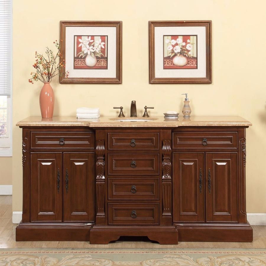 Bathroom single sink cabinets - Silkroad Exclusive 72 Brazilian Rosewood Single Sink Cabinet With Travertine Top V0280tw72c
