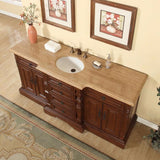 "Silkroad Exclusive 72"" Brazilian Rosewood Single Sink Cabinet with Travertine Top - V0280TW72C - Bath Vanity Plus"
