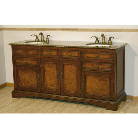 "Silkroad Exclusive 72"" Double Sink Vanity Set with Granite Top - HYP-0716-BB-UIC-72 - Bath Vanity Plus"