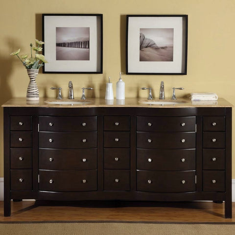 "Silkroad Exclusive 72"" Lancaster Double Sink Vanity Set with Travertine Top - HYP-0704-T-UIC-72 - Bath Vanity Plus"