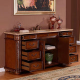 "Silkroad Exclusive 72"" Victorian English Chestnut Single Sink Cabinet with Travertine Top - ZY-0247-T-UWC-72 - Bath Vanity Plus"