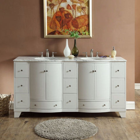 "Silkroad Exclusive 72"" White Oak Double Sink Cabinet with Carrara Marble Top - V0292WW72D - Bath Vanity Plus"
