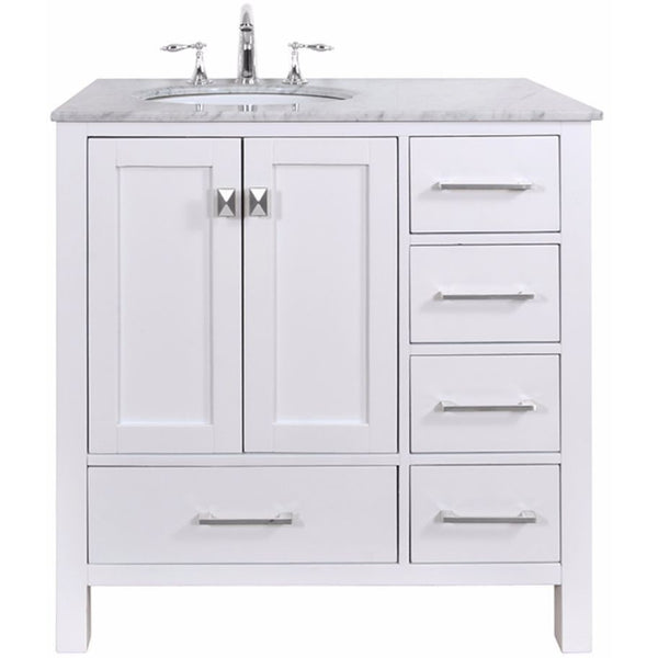 "Stufurhome 36"" Malibu Pure White Single Sink Bathroom Vanity Set - GM-6412-36PW-CR - Bath Vanity Plus"